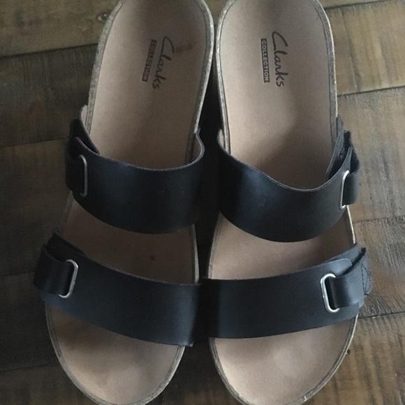 d2b058b1d2 Clarks Shoes   Auriel Till Black Leather Wedges   Poshmark
